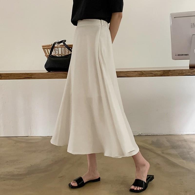 Denve Back Banding Modal Flare Long Skirt - 2 color