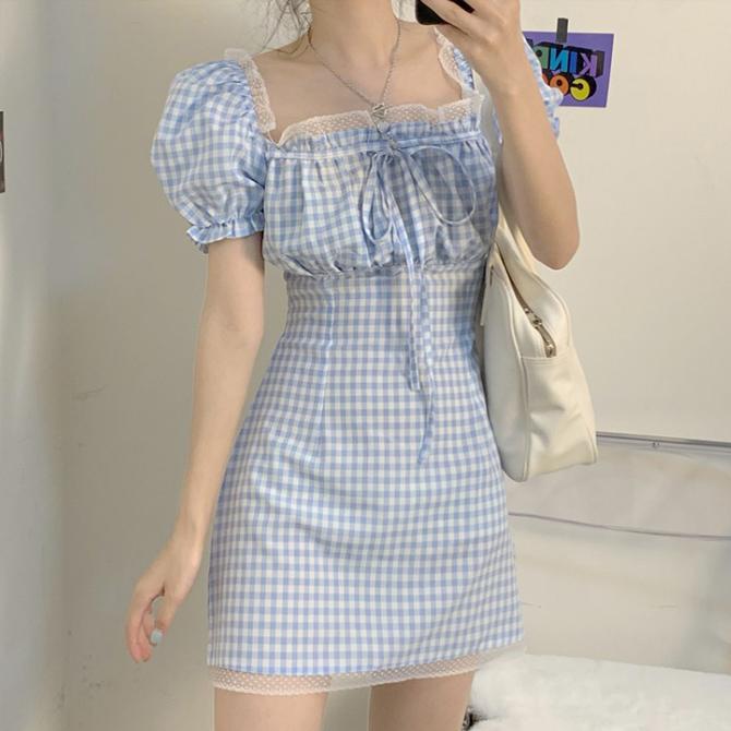 Yeori Lace Square Neck Check Dress