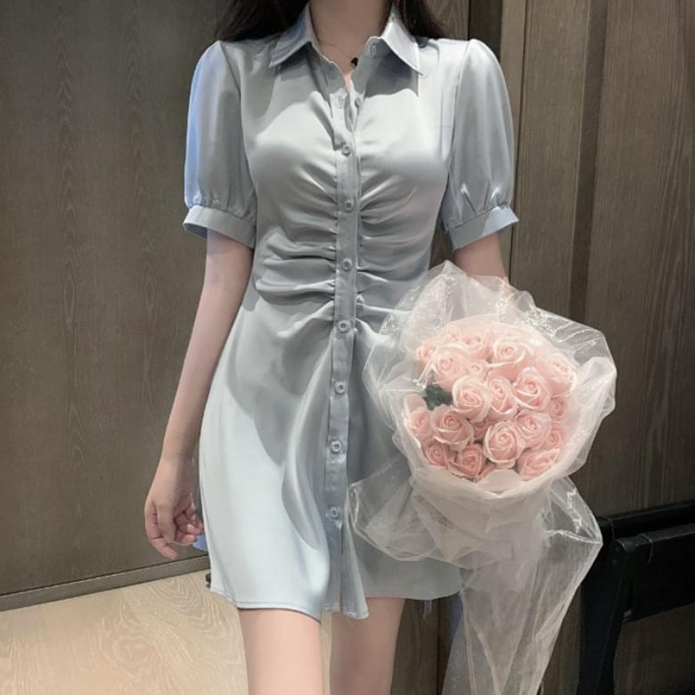 Shirt Collar Slim Shirring Button Dress