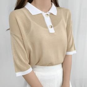 Something Color Matching Short Sleeve Knitwear