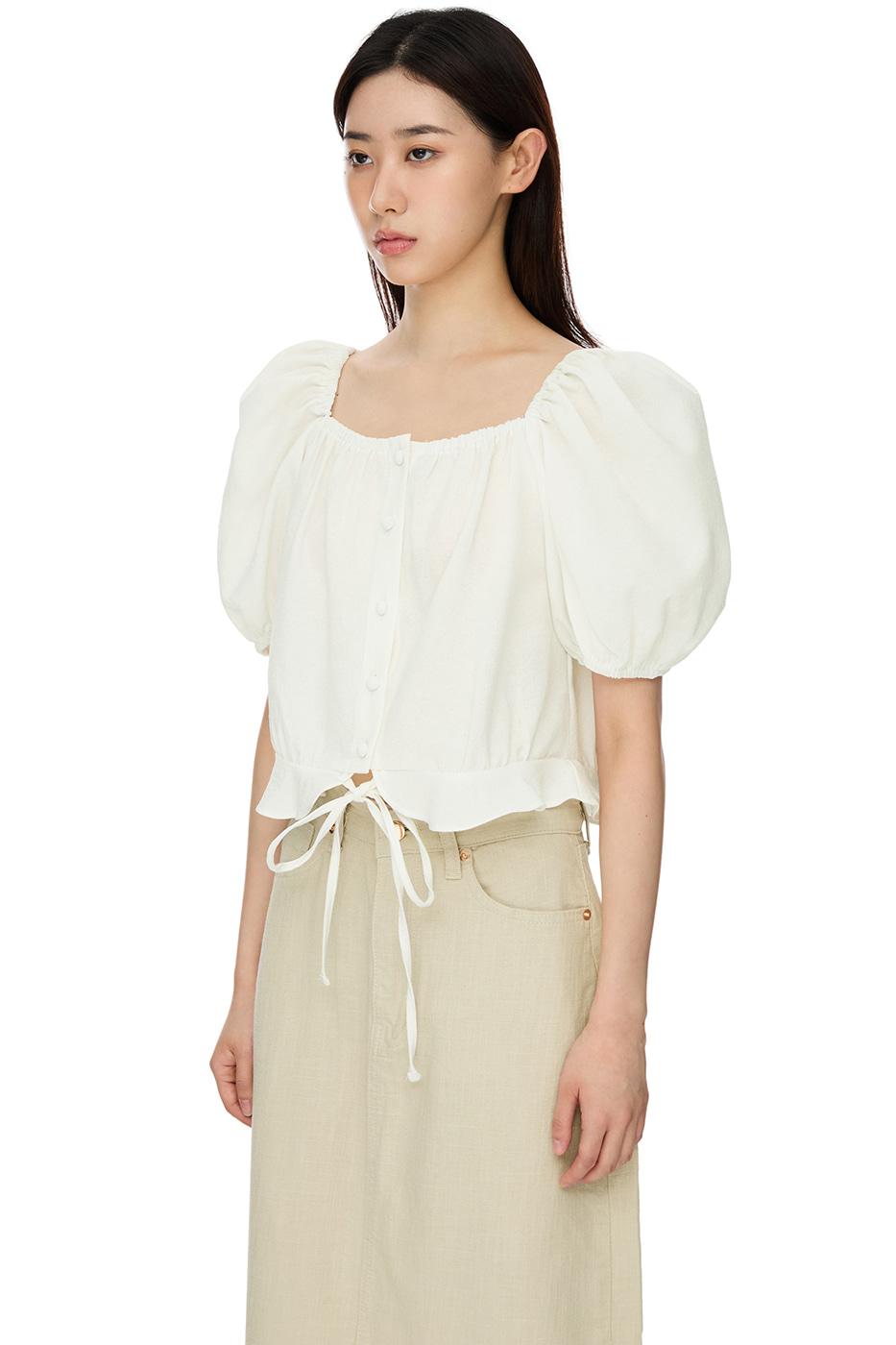 mandarin puff blouse