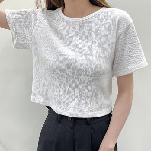 Wrinkle Shine Pleated Short Sleeve Pleated Semi Crop T-shirt T#YW797