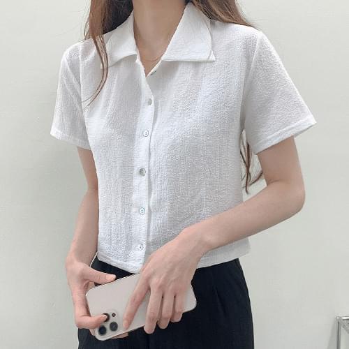 Plain Collar Wrinkle Pleated Short Sleeve Shirt Blouse T#YW801
