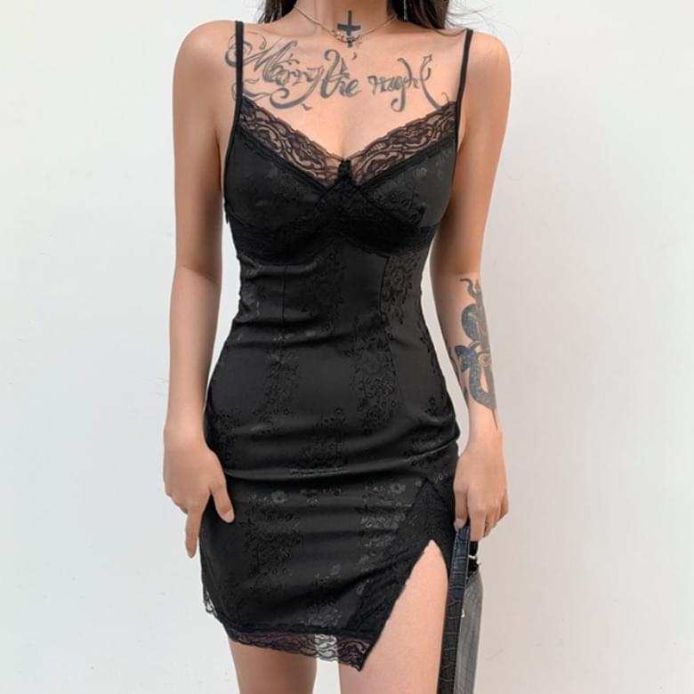 Homewear Black Lace Thong Sleeveless Slip Pajama