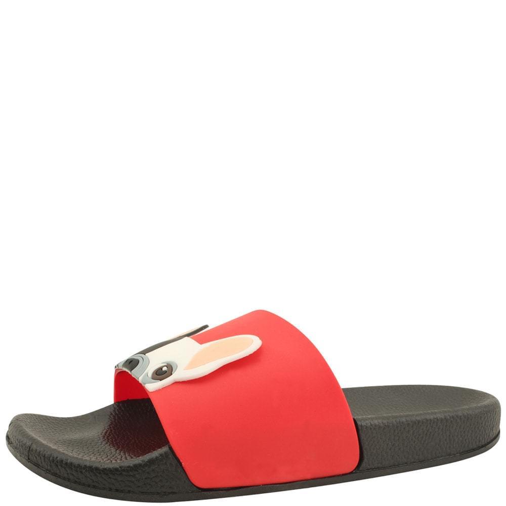 Bulldog Flat Cushion Waterproof Slippers Red