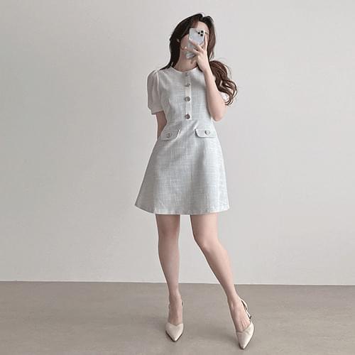 Straight puff short sleeve mini summer tweed Dress 3color
