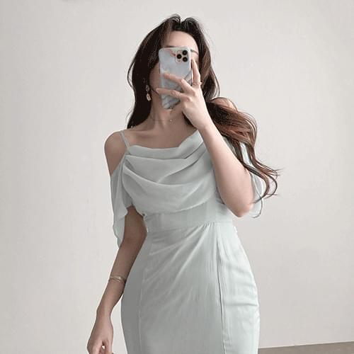 Slim Goddess Drape Chiffon Shirring Strap Sleeveless Mermaid Dress 3color