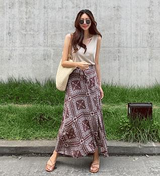 Paisley Ribbon Wrap Skirt #53035