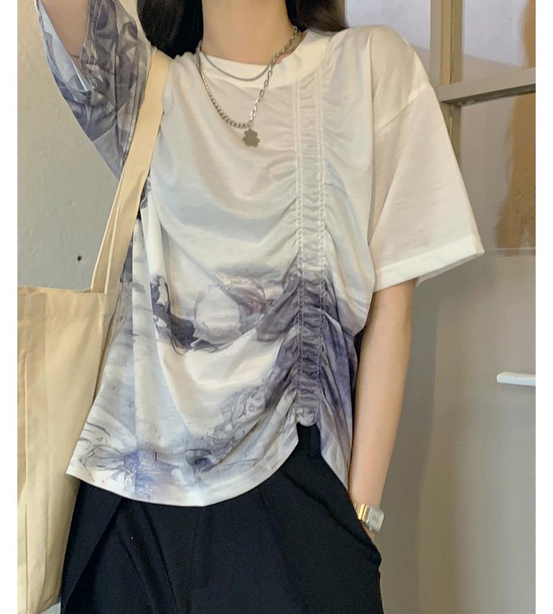 tt5116 Querber Printed Shirring T-shirt