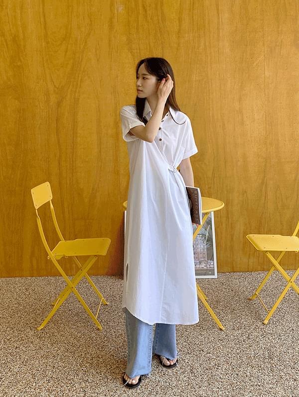 Belt shirt long Dress with impression
