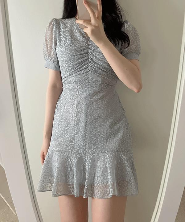 lilac lace shirring Dress 4color