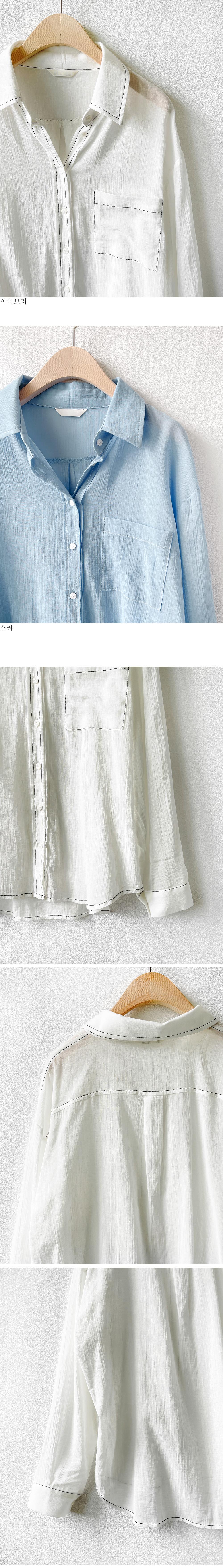 Stitched summer cotton shirt