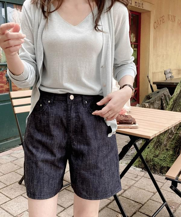 non-fade summer half denim pants *