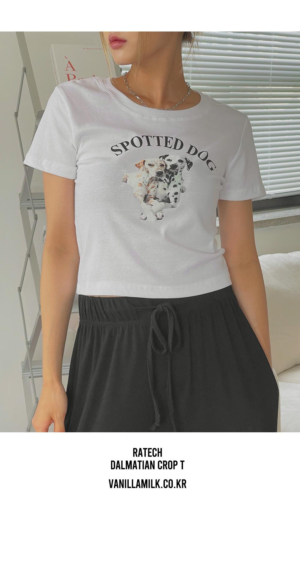 Latex Dalmatian Short Sleeve Crop Tee