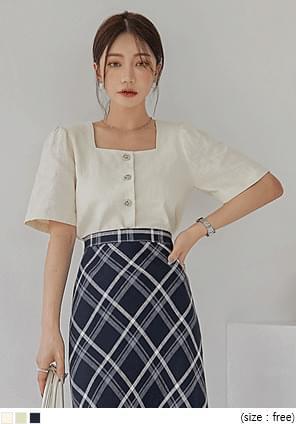 Linen-Cotton Blend Boxy Blouse
