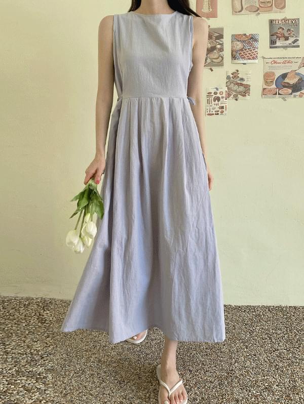 Cloud-like two-way waist strap Sleeveless long Dress