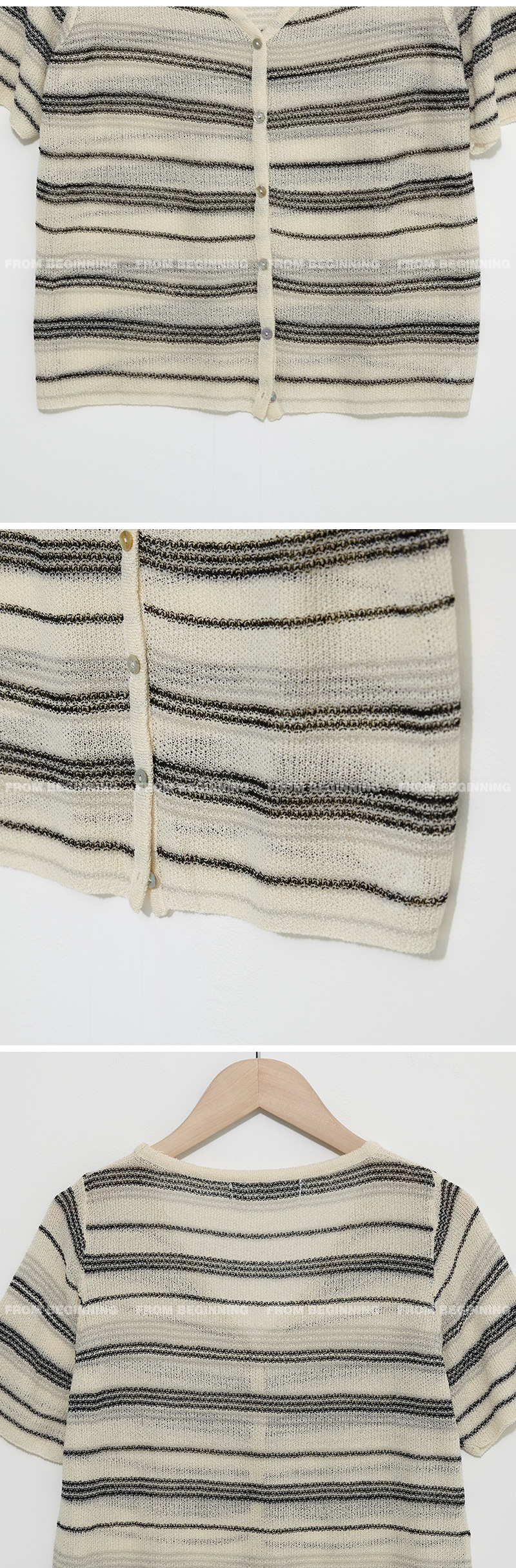 striped linen short sleeve cardigan