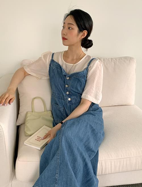 button pocket denim overall Dress