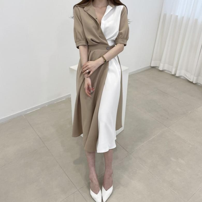 French Two and Color Shirt Collar Dress