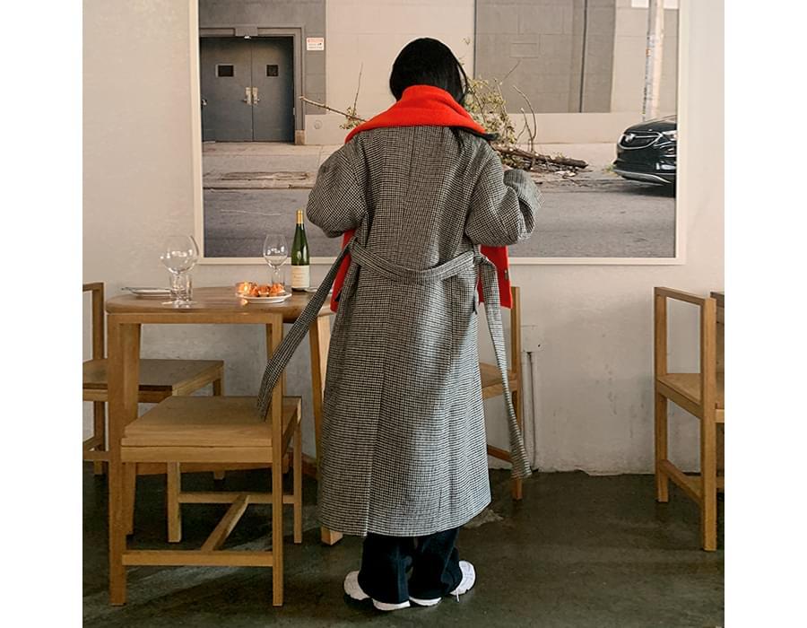 Hound Check Belt Wool Double Long Coat