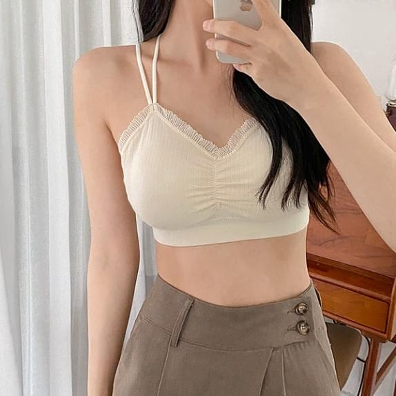 Planning front shirring Ribbed bralette A good layering bralet :D