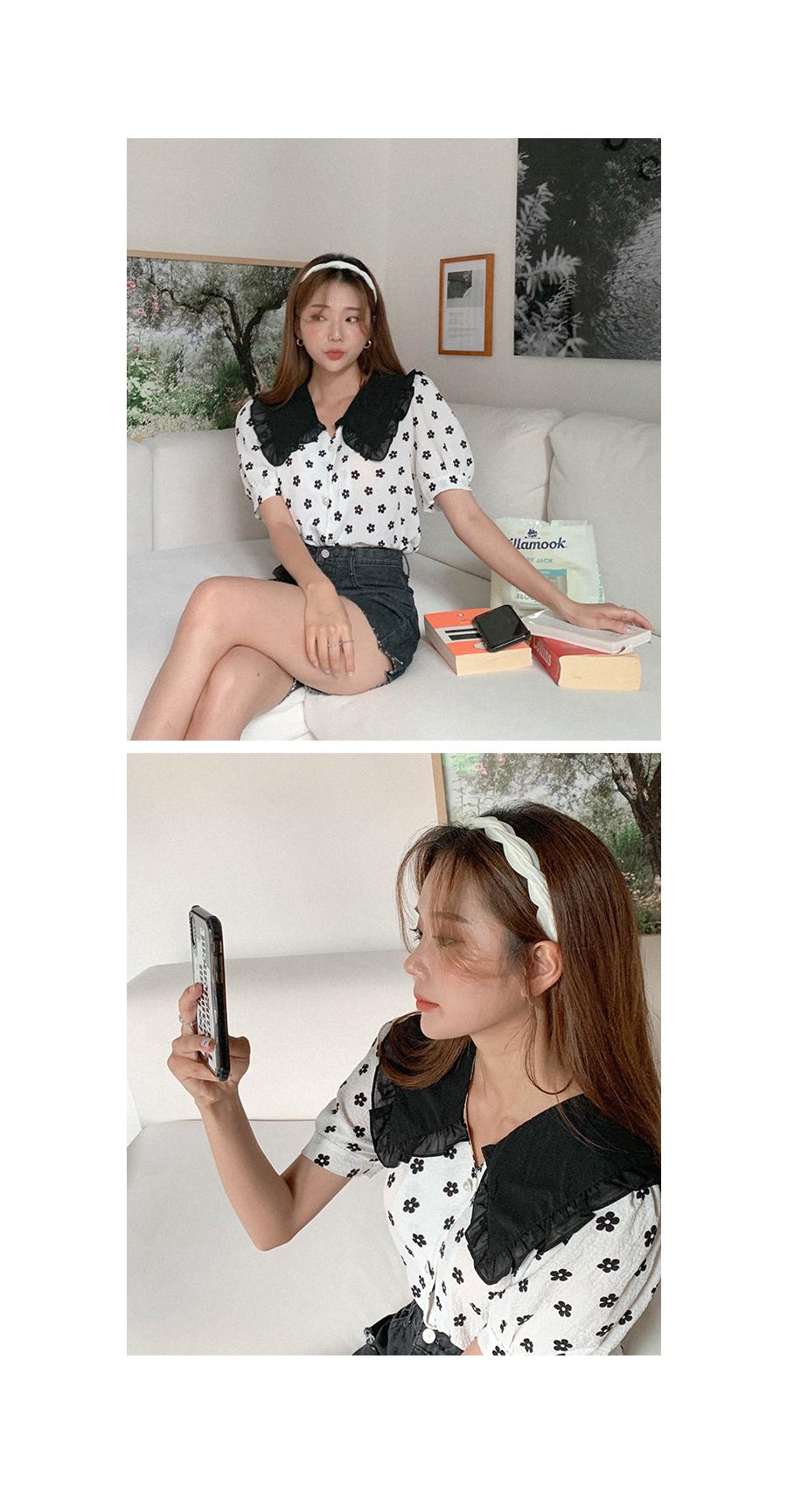 Myrup collar flower blouse