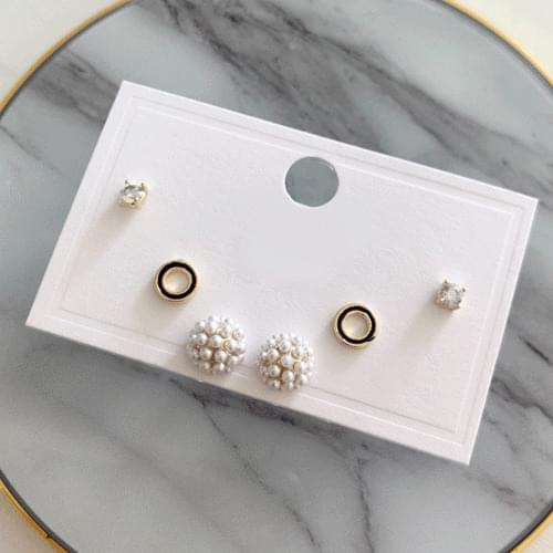 Pearl Flower Flower Cubic Earrings 3 Piece Set A#YW034