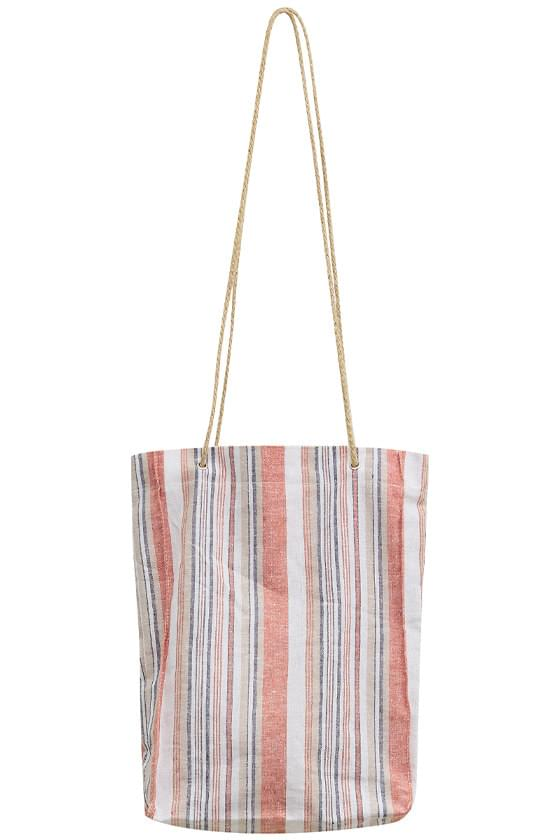 striped linen beach shoulder bag