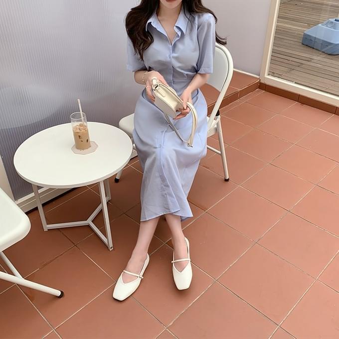 Alcohol Free Short Sleeve Shirt Shirring Waist Strap Ribbon Short Sleeve Long Dress