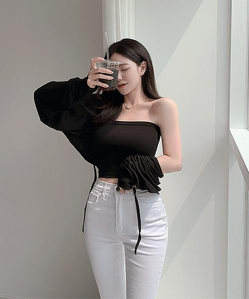 Tteokkkongtteok Tube Top Crop Bolero Long Sleeve Cardigan Set