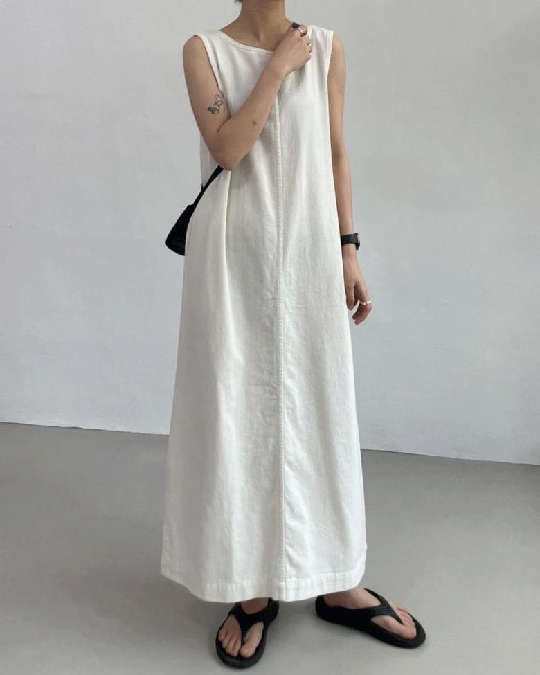 Bonnet Denim Sleeveless Long Dress