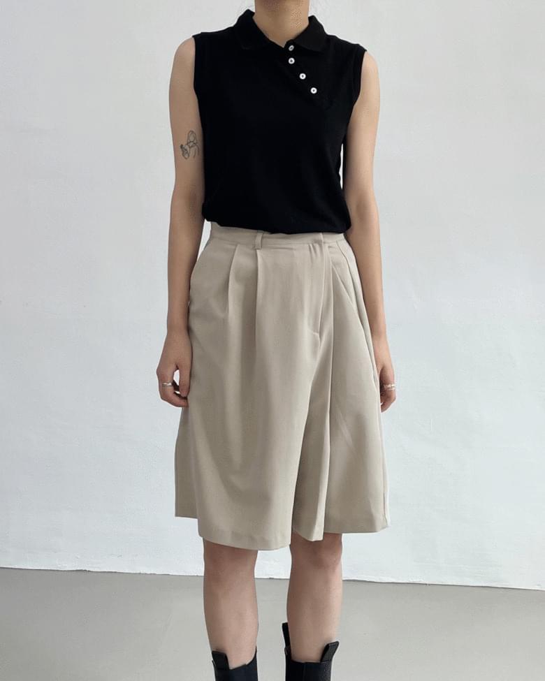 unbalance pique sleeveless
