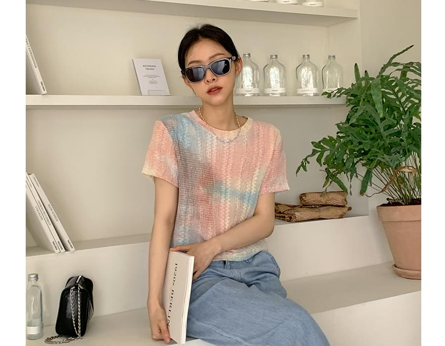 Water Dyed Wrinkle Blouse