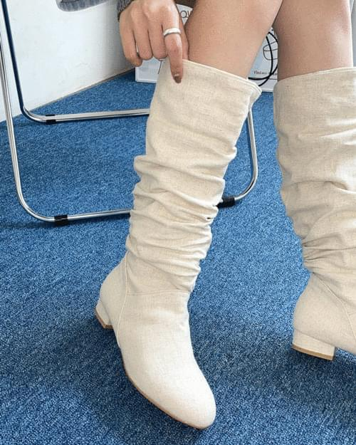 Duple Two-Way Midi Linen Boots
