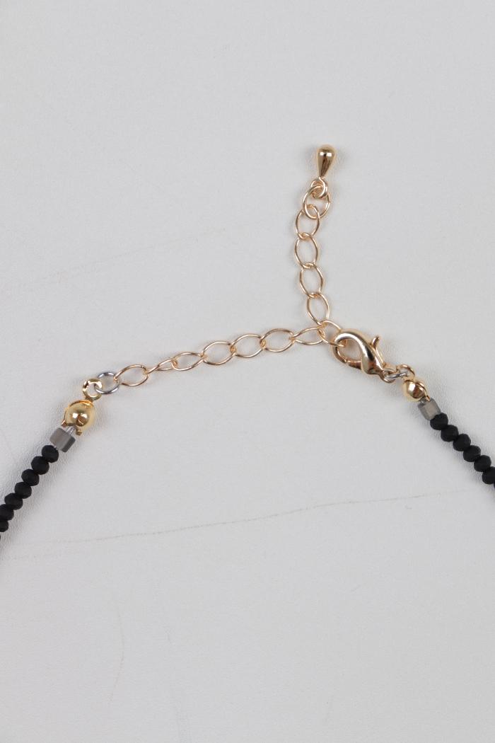 Black Stone Beaded Choker Necklace