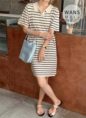 op5078 benjamin striped collar mini Dress