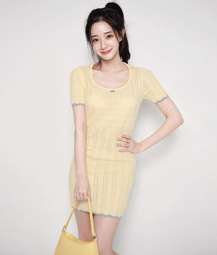 Contrast Edge Mini Knit Dress