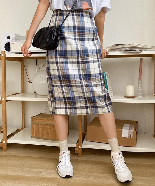 Big 26-36 Inch Benny Check Linen Banding Skirt