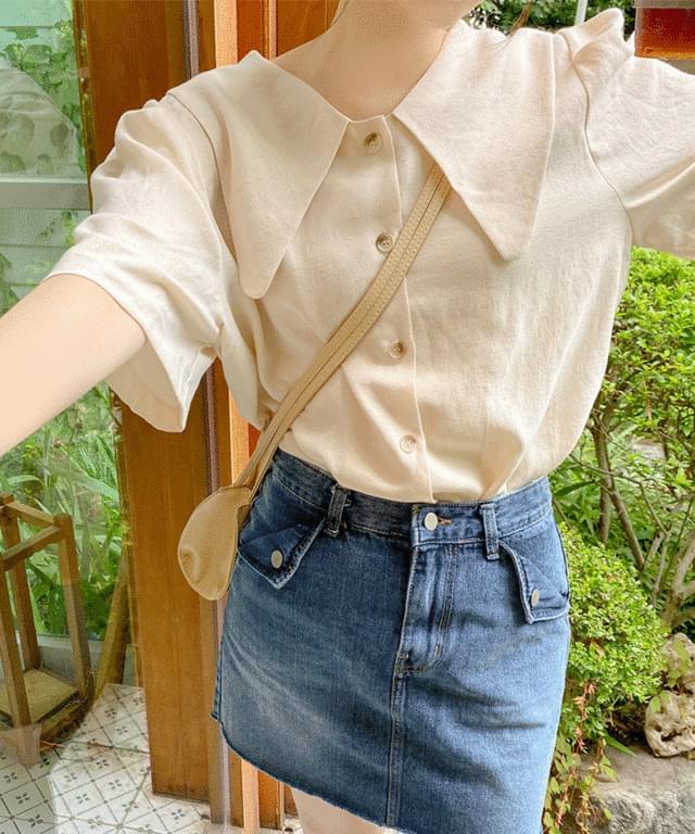 Big size 55-120 gathered collar short sleeve blouse