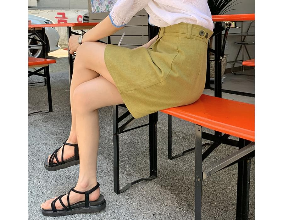 button pintuck A-line skirt