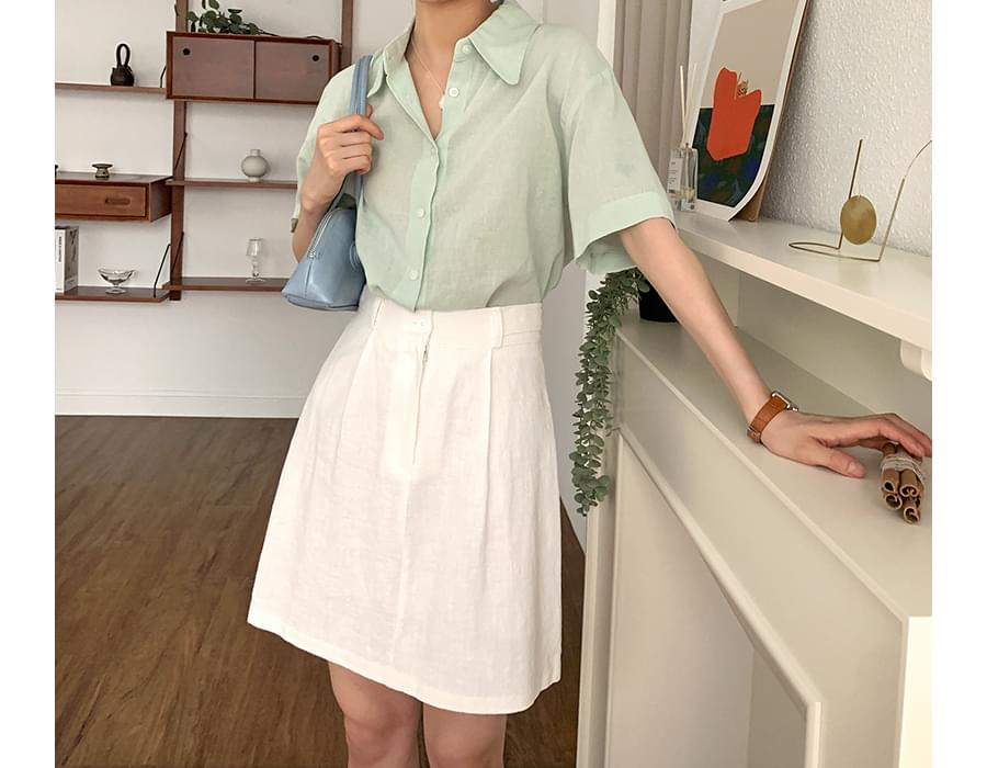 Most Linen Crop Short Sleeve Shirt