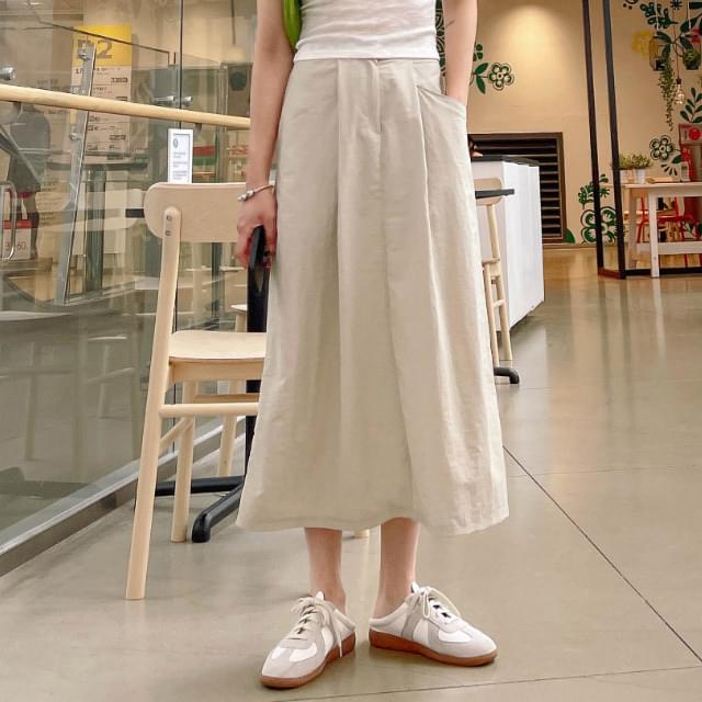 Roman Waistband Long Skirt