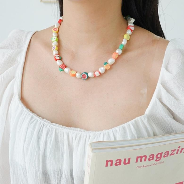 fruit color pearl necklace