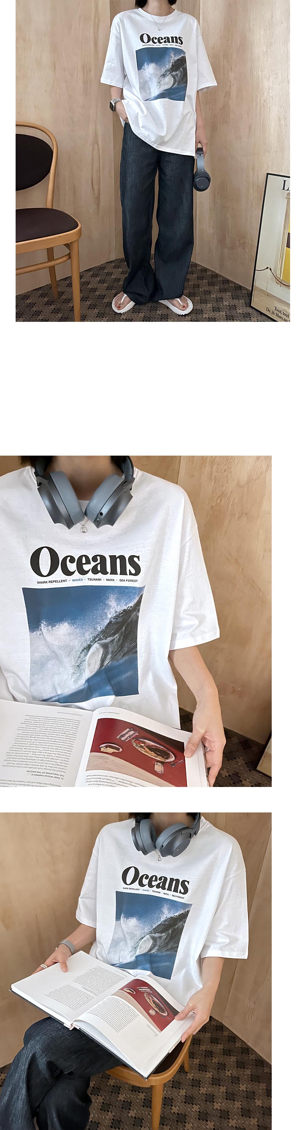 Ocean Vintage Printing Short Sleeve Tee