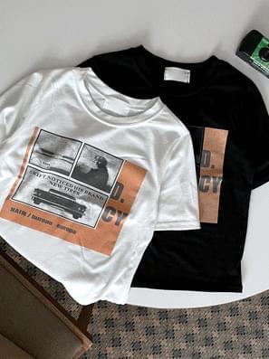 Must print cropped short sleeve tee
