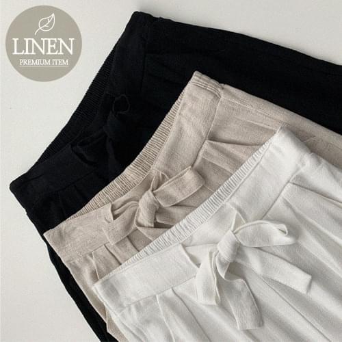 Recommended for short girls Sander Ribbon Linen Wide Pants