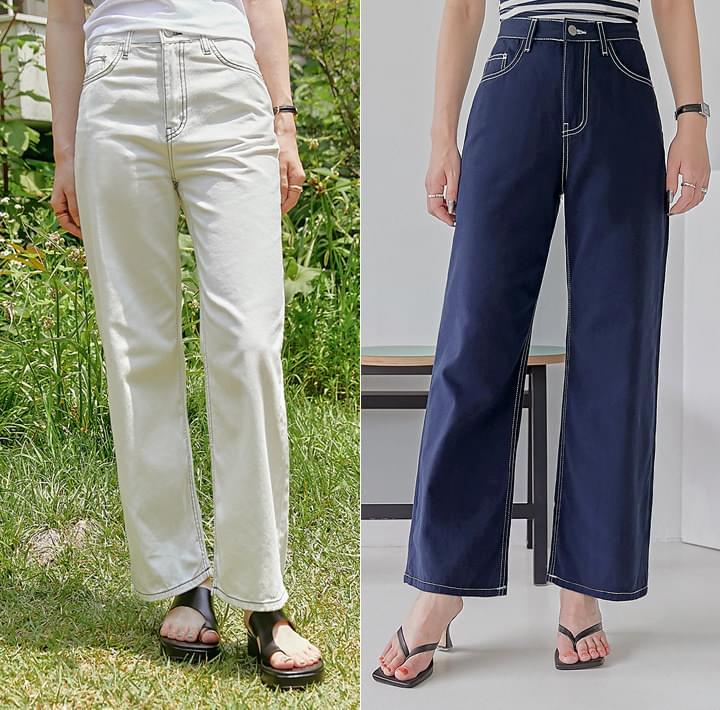 Straight Contrast Stitch Pants