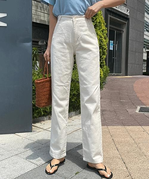 Summer cool back band straight cotton pants