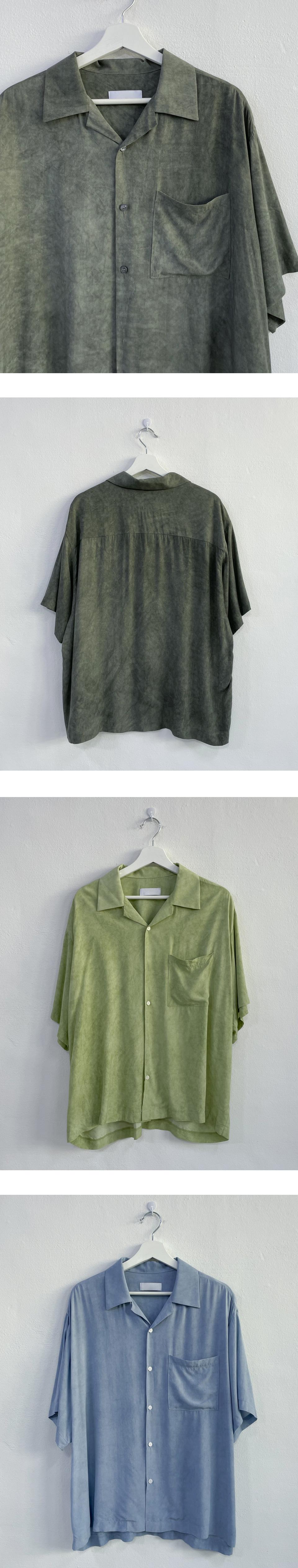 Dev water print open collar shirt