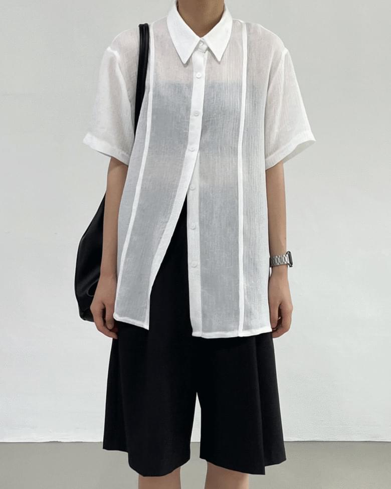 ocher see-through Split shirt